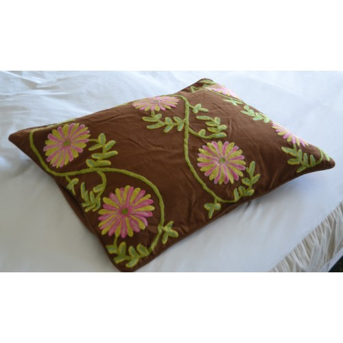 Crewel Bedding Sunflower Vine Cocoa Cotton Duck Duvet Cover