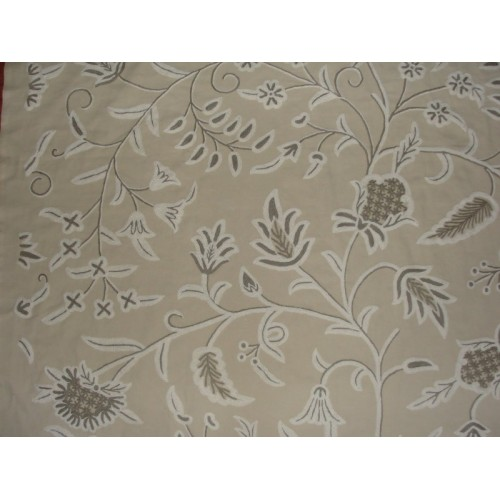 Crewel Fabric Amy Neutrals On Taupe Brown Cotton Duck