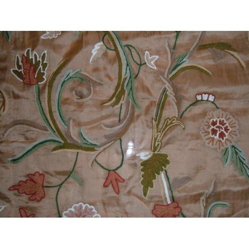 Crewel Fabric Curve Desert Sand Silk Organza