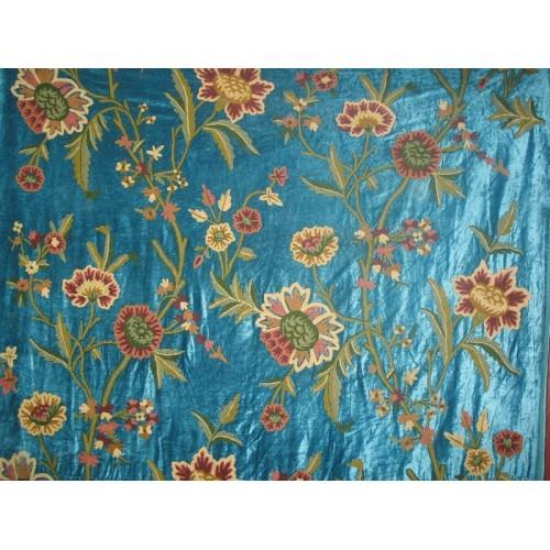 Crewel Fabric Shalimar Turquoise Cotton Viscose Velvet