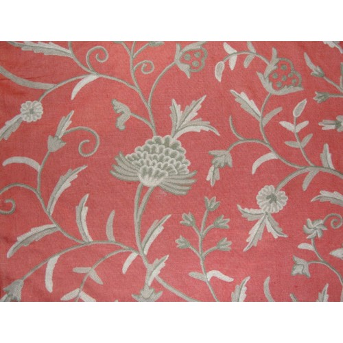 Crewel Fabric Tree Of Life Neutrals On Bright Coral Linen
