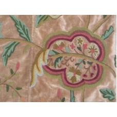 Crewel Fabric Lotus Tan Brown Cotton Velvet
