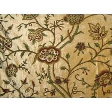 Crewel Fabric Lotus Peruvian Gold Cotton Viscose Velvet