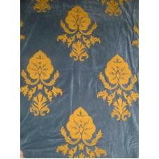 Crewel Fabric Konark Gold on Indigo Blue Cotton Velvet