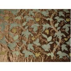 Crewel Fabric GrapeVine Deep Olive Green Cotton Viscose Velvet