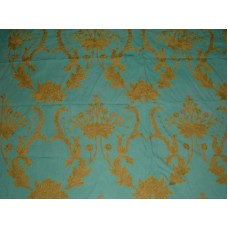 Crewel Fabric Bloom Teal Blue Cotton Duck