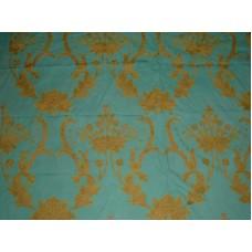 Crewel Fabric Bloom Teal Blue Cotton Duck