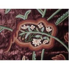 Crewel Fabric Lotus Slate Burgundy Cotton Viscose Velvet