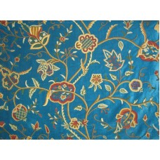 Crewel Fabric Lotus Turquoise Cotton Velvet