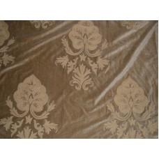 Crewel Fabric Konark Tan on Tan Brown Cotton Velvet