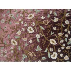 Crewel Fabric Grapes Slate Burgundy Cotton Viscose Velvet