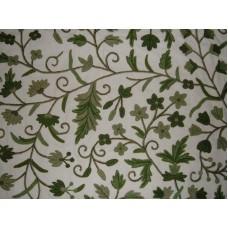 Crewel Fabric Khasan Green on White Cotton