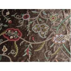 Crewel Fabric Lotus Modern Brown Cotton Viscose Velvet