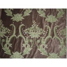 Crewel Fabric Bloom Garden Green Cotton Velvet