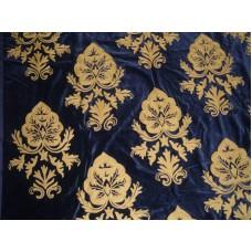 Crewel Fabric Konark Tan on Black Nocturn Cotton Velvet
