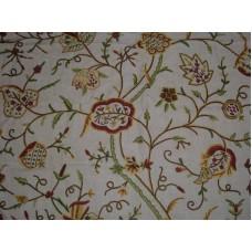 Crewel Fabric Lotus Natural Brown Club Linen