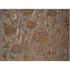 Crewel Fabric Lotus Naturals on Tan Brown Cotton Velvet