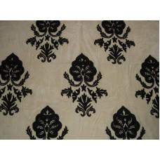 Crewel Fabric Konark Black on Milky Cream Cotton Velvet