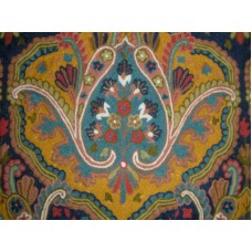 Crewel Fabric Paisley Tapestry Yellow Cotton Duck