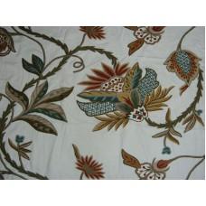 Crewel Fabric Flora Multi Color on White Cotton