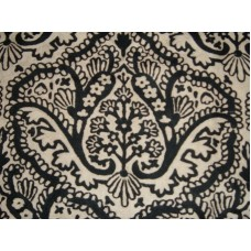 Crewel Fabric Paisley Tapestry Black and White Cotton Duck