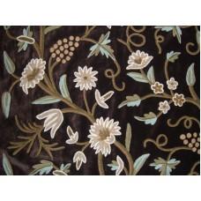 Crewel Fabric Grapes Turkish Coffee Cotton Velvet