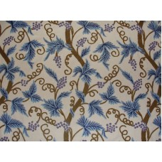 Crewel Fabric Grapevine Blue on Off White Cotton Duck