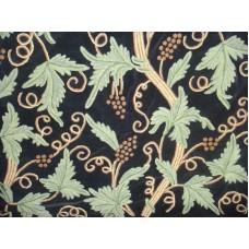 Crewel Fabric Grapevine Black Nocturn Cotton Velvet