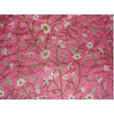 Crewel Fabric Grapes Queen Pink Silk Organza