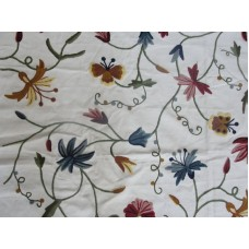 Crewel Fabric Butterfly Multi Color on Off White Cotton Duck