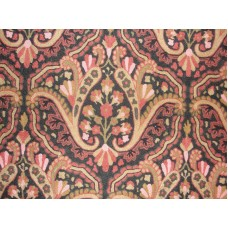 Crewel Fabric Paisley Tapestry Brights and Blacks Cotton