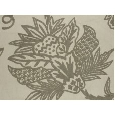 Crewel Fabric Flora Grey on Off White Cotton