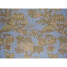 Crewel Fabric Kosher Garden Light Blue Cotton Duck