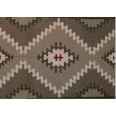 Crewel Rug Tribal Grey Chain Stitched Wool Rug (4x6FT)