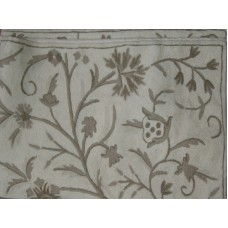 Crewel Rug Tree of Life Neutrals on White Chain Stitched Wool Ru