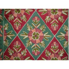 Crewel Rug Rouheen Garden Green Chain Stitched Wool Rug (2x3FT)