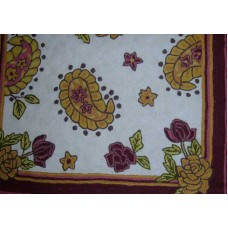 Crewel Rug Paisley Floral Vine Chain Stitched Wool Rug (4x6FT)