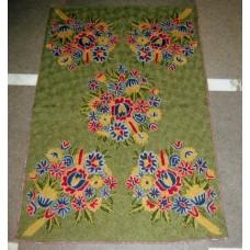 Crewel Rug Phooldar Greens Chain Stitched Wool Rug (4x6FT)