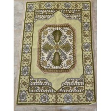 Crewel Rug Chain Stitched Novajo Cream Wool Rug (4x6FT)