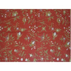 Crewel Rug Marigold Red Chain Stitched Wool Rug (4x6FT)