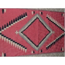 Crewel Rug Indian Pink Chain Stitched Wool Rug (2x3FT)