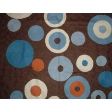 Crewel Rug Circles Brown Chain Stitched Wool Rug (2x3FT)