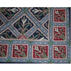 Crewel Rug Chokata Deep Blue Chain Stitched Wool Rug (2x3FT)
