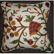 Crewel Pillow Tree of Life Pastels on White Cotton (16x16)