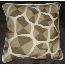 Crewel Pillow ChainStitch Giraffe Brown on White Cotton (20x20)
