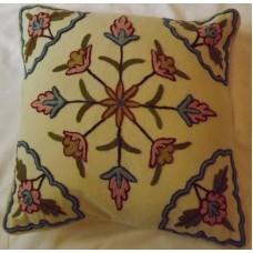 Crewel Pillow Dreamy Flowers Sweet Pine Cotton Duck (16x16)