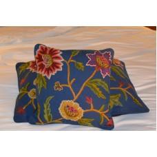 Crewel Pillow Sham Shalimar Royal Blue Cotton Duck (16x16)