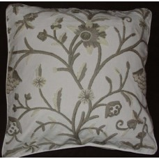 Crewel Pillow Tree of Life Neutrals on White Cotton Duck (20x20)