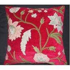 Crewel Pillow Daisy Red Cotton Velvet (20x20)
