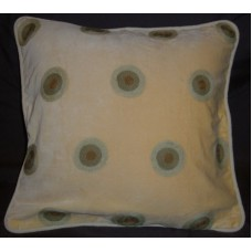 Crewel Pillow Polka Dot Cream Cotton Velvet (14x14)